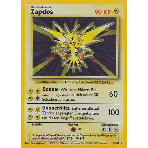 Zapdos - 16/102 - Holo - Played