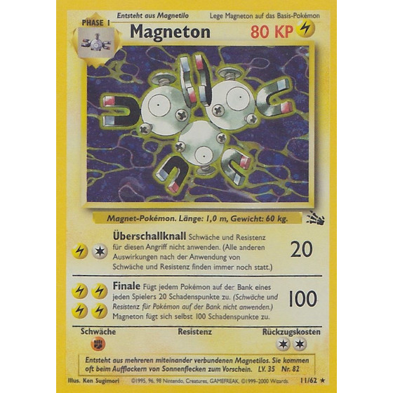 Magneton - 11/62 - Holo 1st Edition - Good