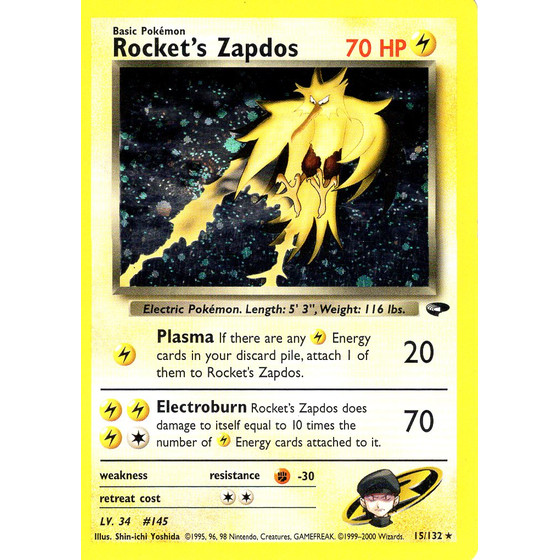 Rockets Zapdos - 15/132 - Holo - Played
