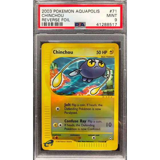 Chinchou - 71/147 Aquapolis - PSA 9 Reverse Holo MINT