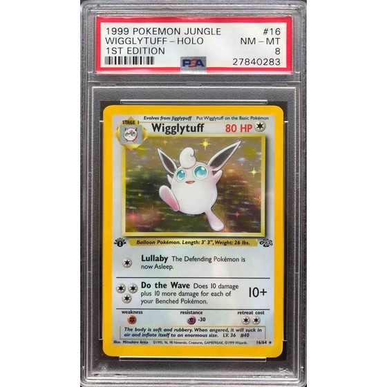 Wigglytuff - 16/64 Jungle 1st Edition - PSA 8 Holo NM - MT