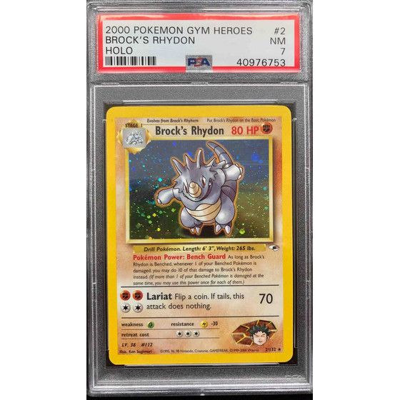 Brocks Rhydon - 2/132 Gym Heroes Unlimited - PSA 7 Holo NM