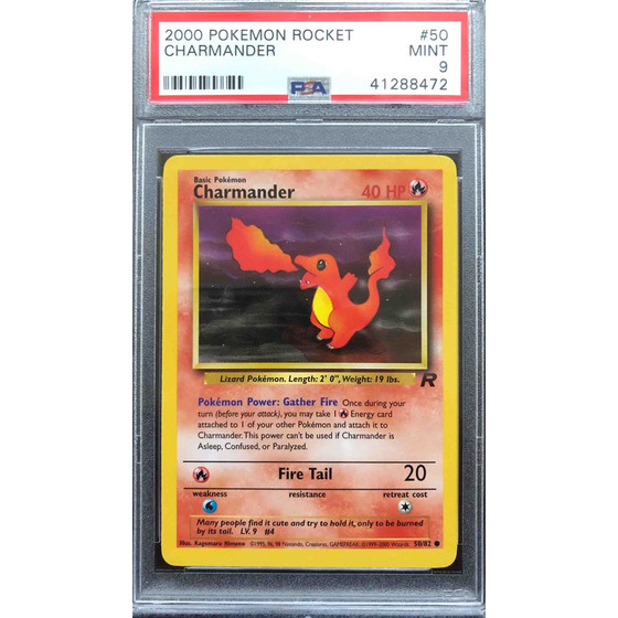 Charmander - 50/82 Team Rocket Unlimited - PSA 9 Common MINT