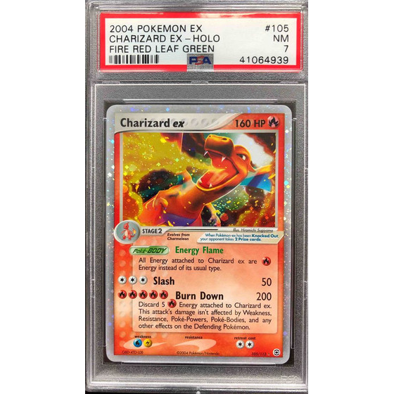 Charizard ex - 105/112 Fire Red & Leaf Green - PSA 7 Holo NM