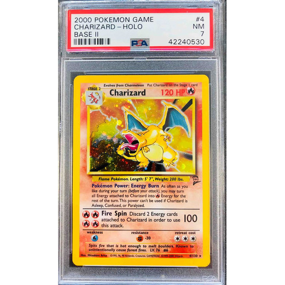 Charizard - 4/130 Base Set 2 - PSA 7 Holo NM