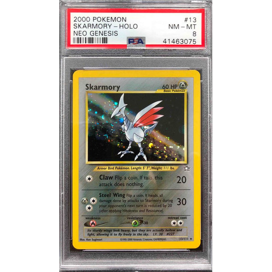 Skarmory - Neo Genesis 13/111 Unlimited - PSA 8 Holo NM - MT
