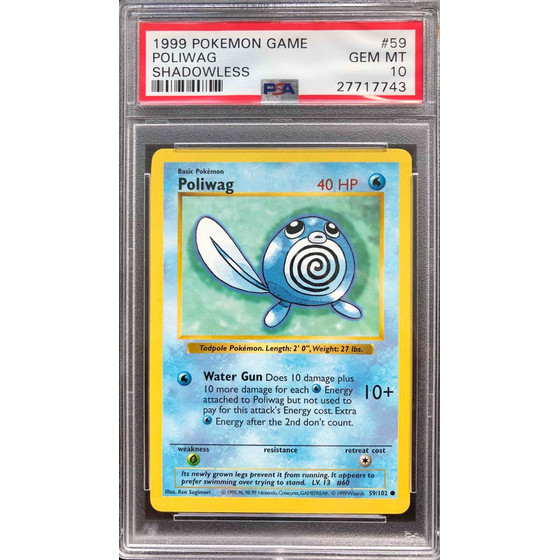 Poliwag - 59/102 Shadowless Base Set - PSA 10 Common GEM MT