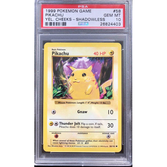 Pikachu - 58/102 Shadowless Base Set - PSA 10 Common GEM MT