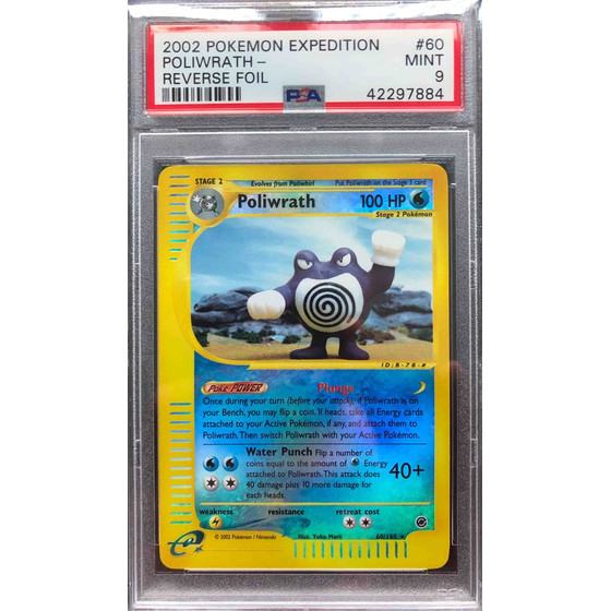 Poliwrath - 60/165 Expedition - PSA 9 Reverse Holo MINT