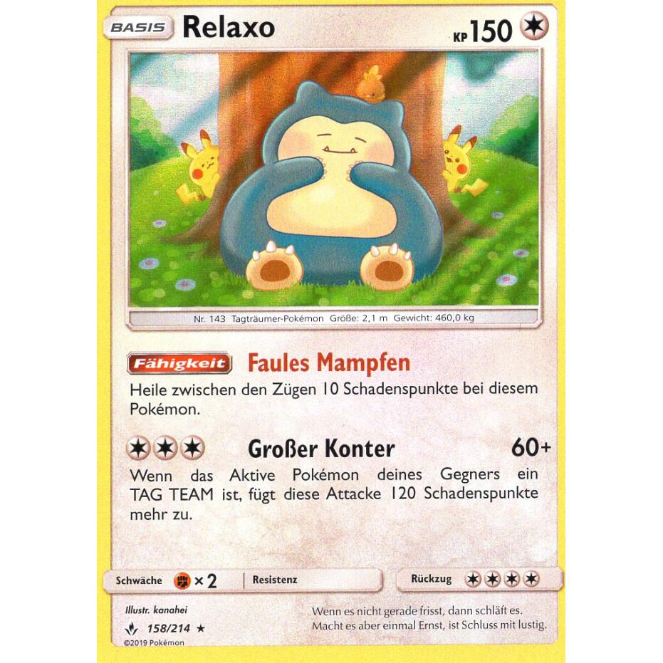 Relaxo Holo Pokemon Karte 158//214 Deutsch Kräfte im Einklang