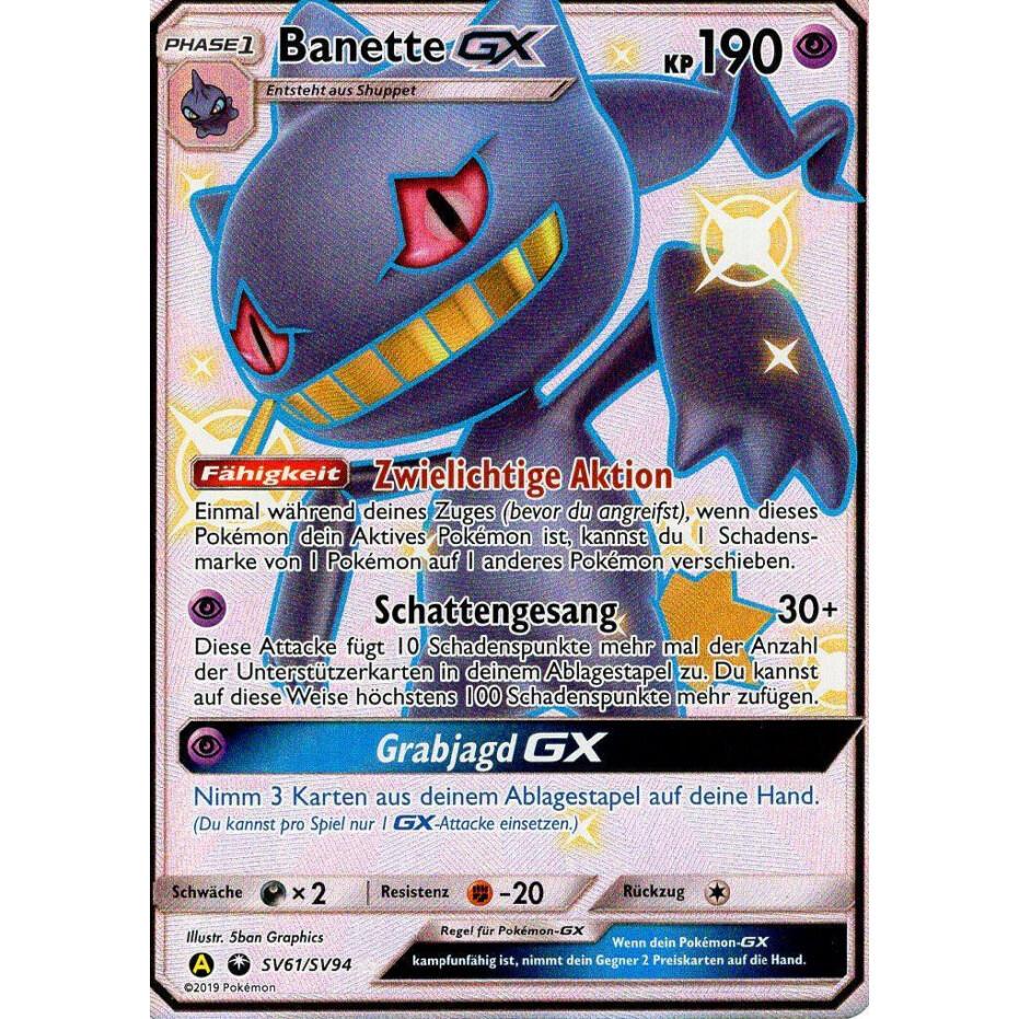 Pokemon Karte Banette GX SV61//SV94 Verborgenes Schicksal SHINY Boosterfrisch
