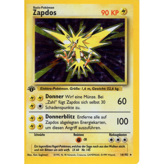 Zapdos - 16/102 - Holo 1st Edition
