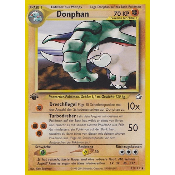 Donphan - 21/111 - Rare 1st Edition