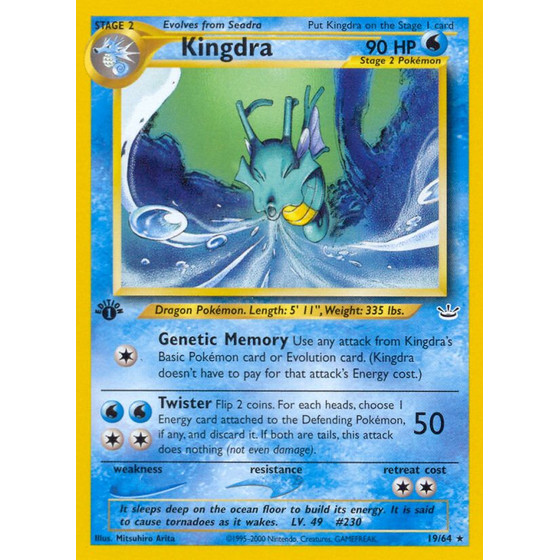 Kingdra - 19/64 - Rare 1st Edition
