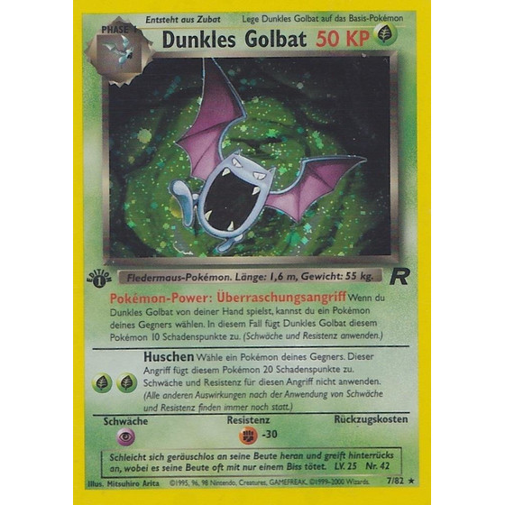 Dunkles Golbat - 7/82 - Holo 1st Edition