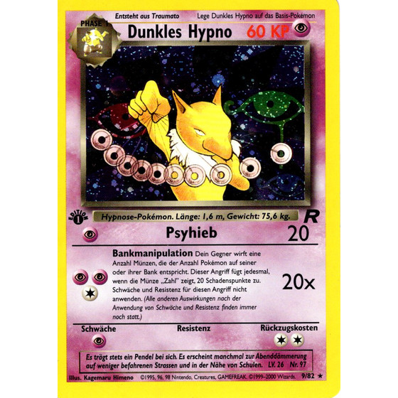 Dunkles Hypno - 9/82 - Holo 1st Edition
