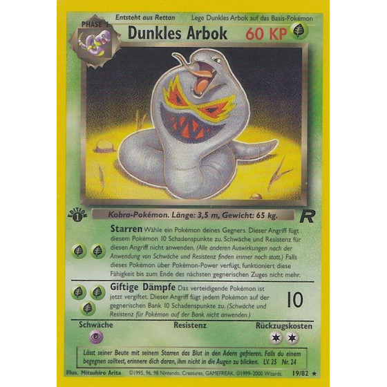 Dunkles Arbok - 19/82 - Rare 1st Edition