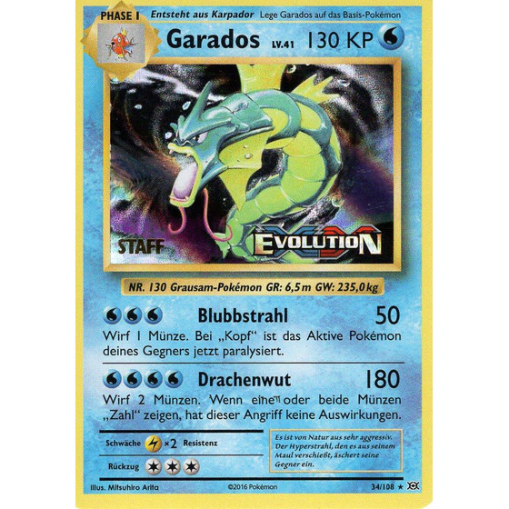 Garados - 34/108 Evolution Prerelease - STAFF Promo