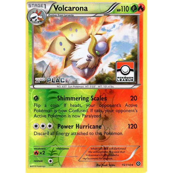 Volcarona - 15/114 League Challenge 2nd Place - Holo
