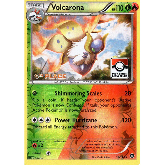Volcarona - 15/114 League Challenge 4th Place - Holo