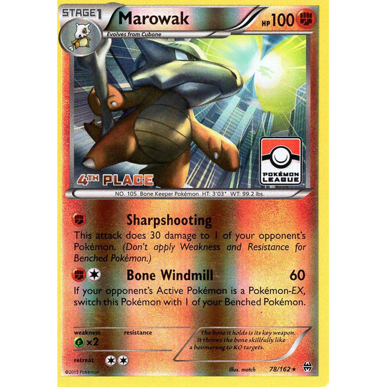 Marowak - 78/162 League Challenge 4th Place - Holo