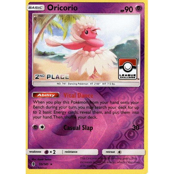 Oricorio - 55/145 League Challenge 2nd Place - Holo