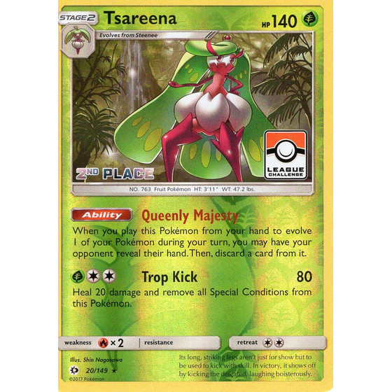 Tsareena - 20/149 League Challenge 2nd Place - Holo
