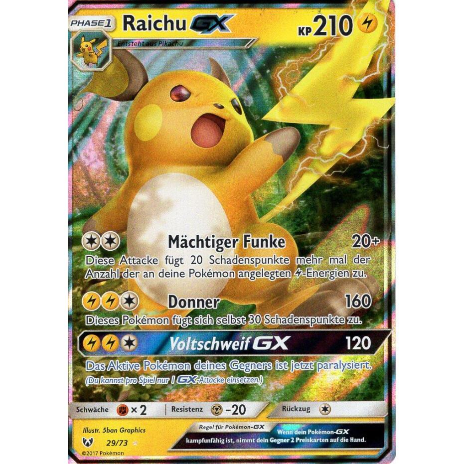 Deutsch Schimmernde Legenden Raichu GX Pokemon Karte 29//73