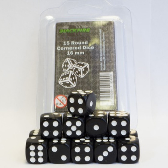 Blackfire - 16mm D6 Dice Set Black - 15 Dice