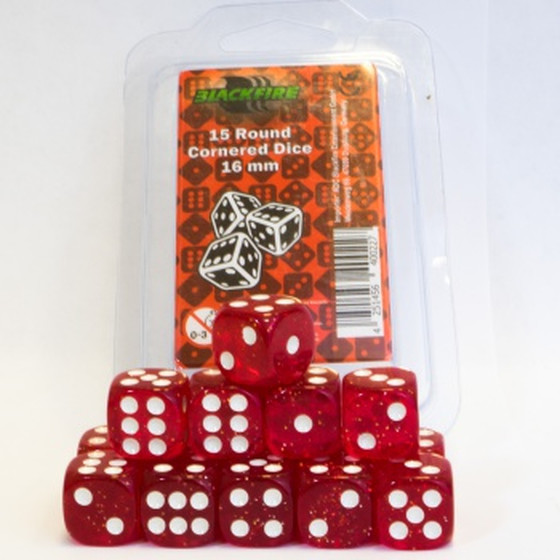 Blackfire - 16mm D6 Dice Set Red Glitter - 15 Dice