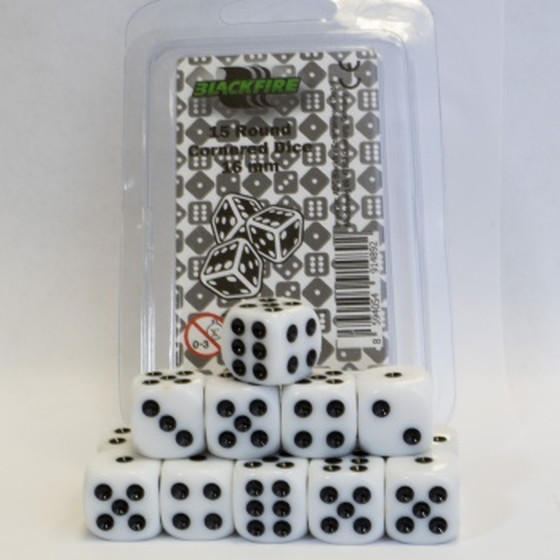 Blackfire - 16mm D6 Dice Set White - 15 Dice