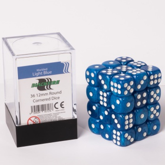 Blackfire - 12mm D6 Dice Cube Set Marbled Light Blue - 36...