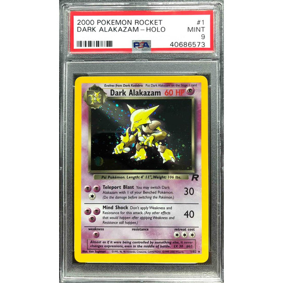 Dark Alakazam - 1/82 Team Rocket Unlimited - PSA 9 Holo Mint