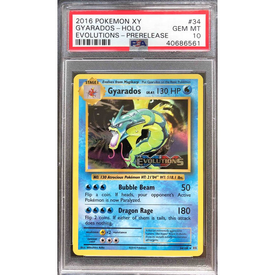 Gyarados - 34/108 XY12 Evolutions Prerelease - PSA 10...