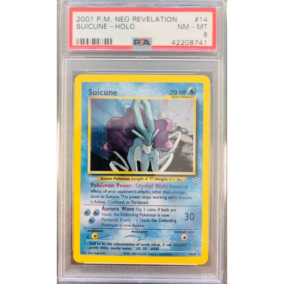 Suicune - 14/64 Neo Revelation Unlimited - PSA 8 Holo NM...