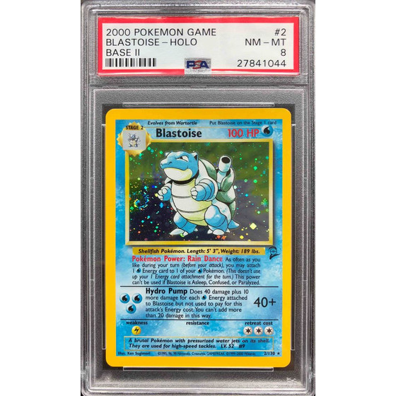 Blastoise - 2/130 Base Set 2 - PSA 8 Holo NM - MT