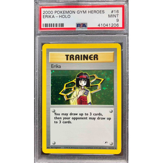 Erika - 16/132 Gym Heroes Unlimited - PSA 9 Holo MINT