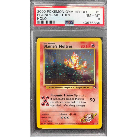 Blaines Moltres - 1/132 Gym Heroes Unlimited - PSA 8 Holo...
