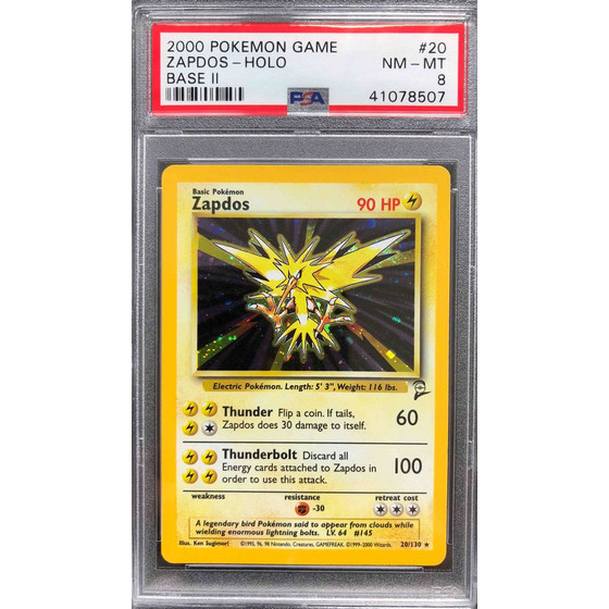 Zapdos - 20/130 Base Set 2 - PSA 8 Holo NM - MT