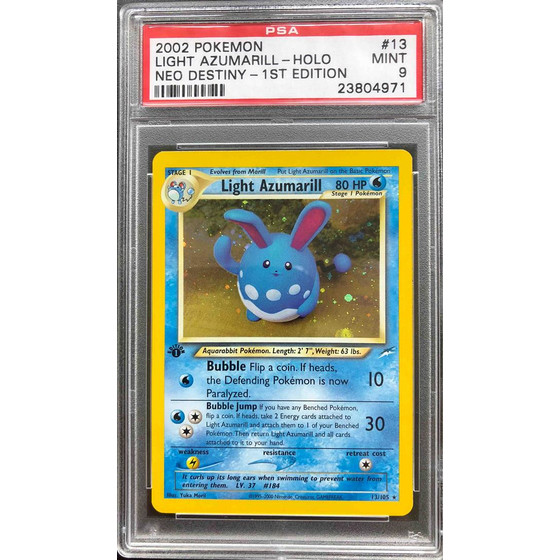 Light Azumarill - 13/105 Neo Destiny 1st Edition - PSA 9...