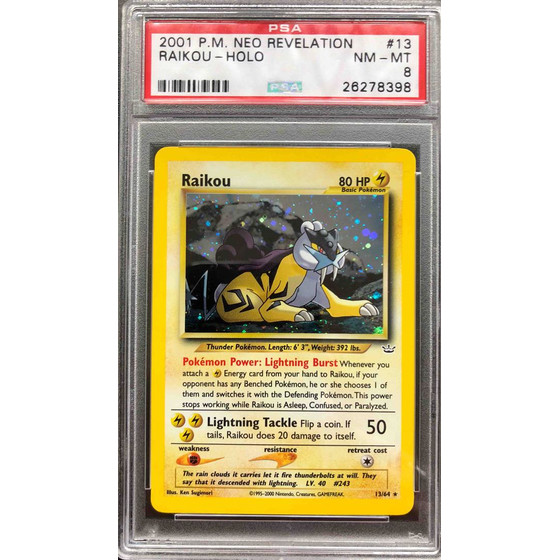 Raikou - 13/64 Neo Revelation Unlimited - PSA 8 Holo NM - MT