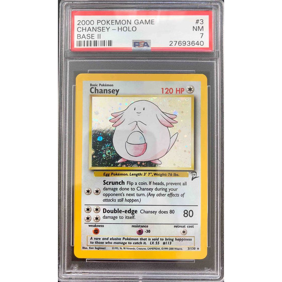 Chansey - 3/130 Base Set 2 - PSA 7 Holo NM