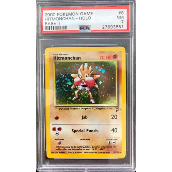 Hitmonchan - 8/130 Base Set 2 - PSA 7 Holo NM