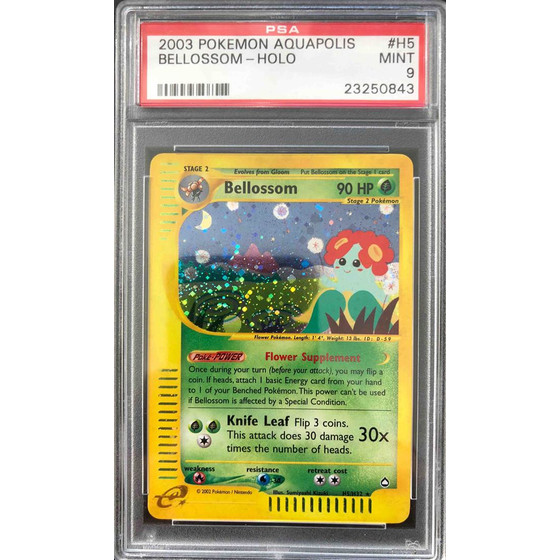 Bellossom - H5/H32 Aquapolis - PSA 9 Holo MINT